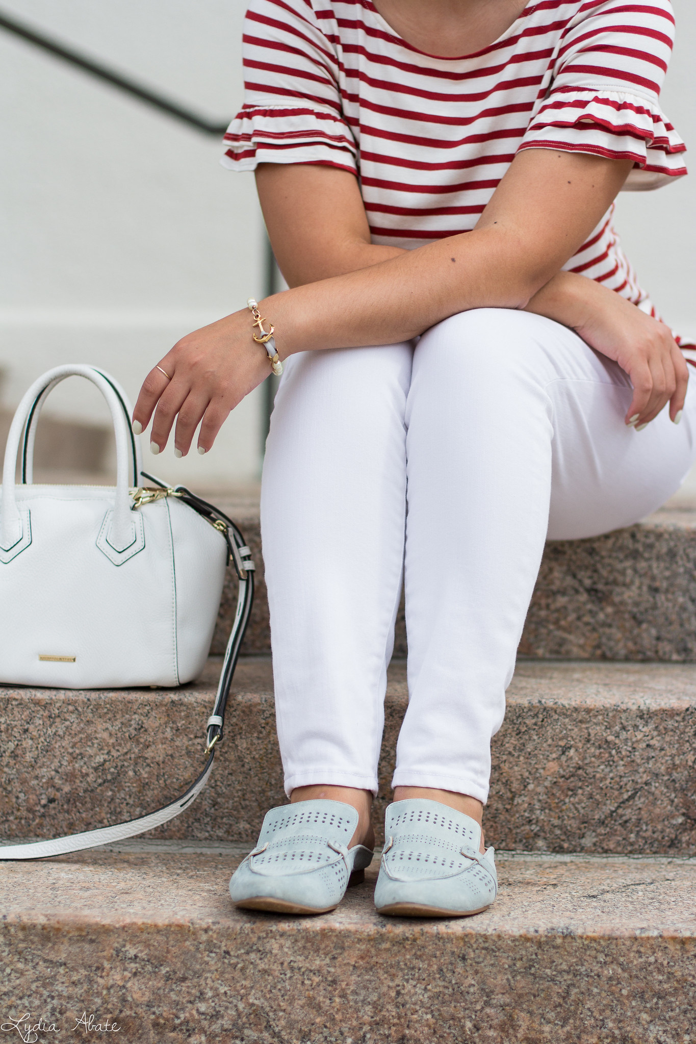 striped ruffle sleeve tee, white jeans, blue loafers, white bag-10.jpg