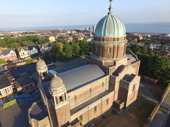 St Peter, Paul, Philomena, New Brighton Drone view of new roofs, pointing, rainwater goods and some windows.