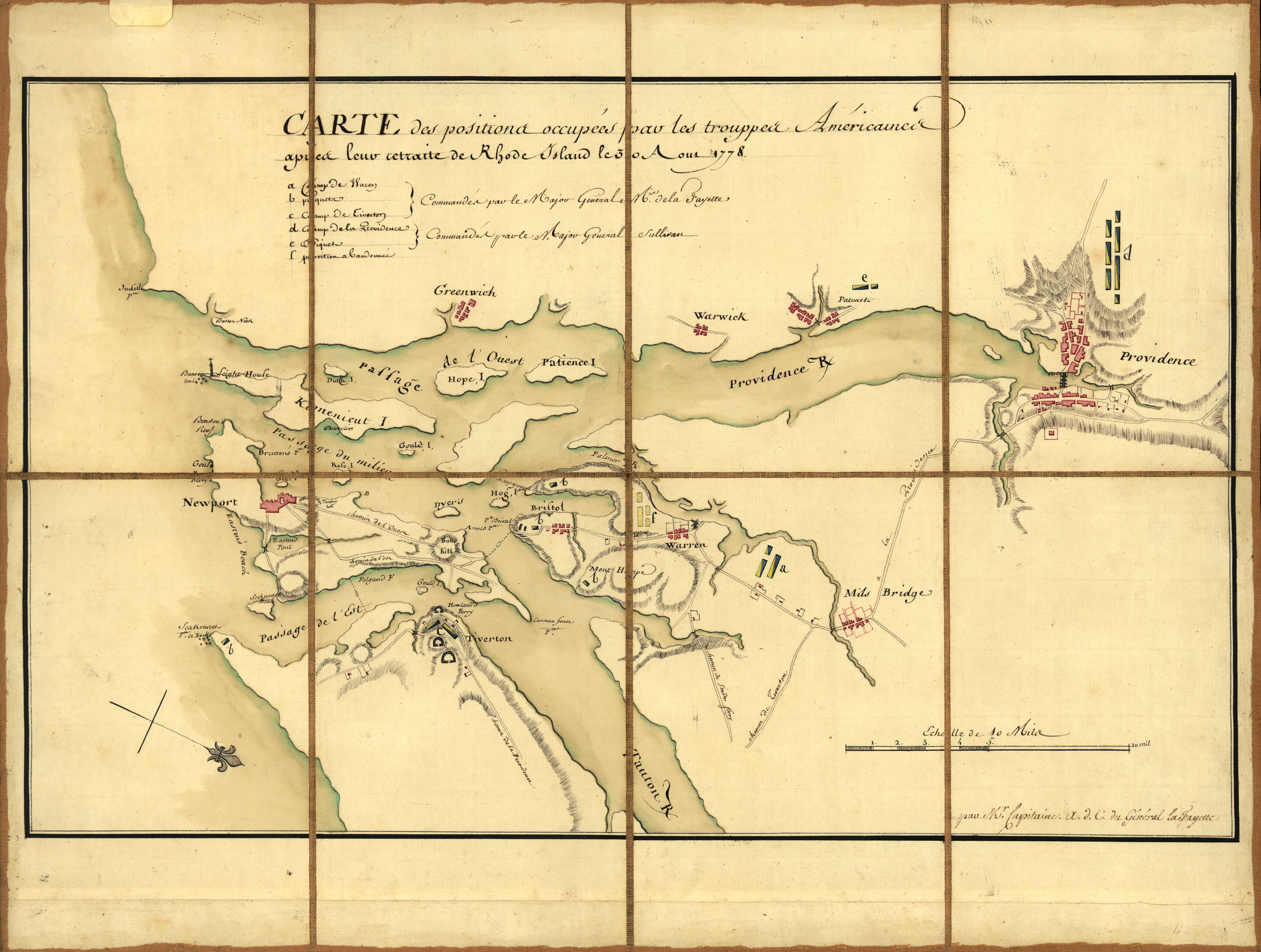 A French military map prepared for the Marquis de Lafayette showing American troop positions on August 30, 1778, after the Battle of Rhode Island.