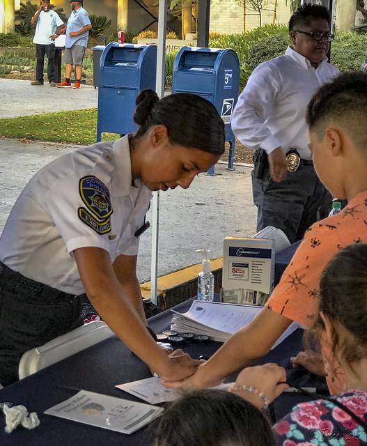 Downey Night Out Explorers kids fingerprinting