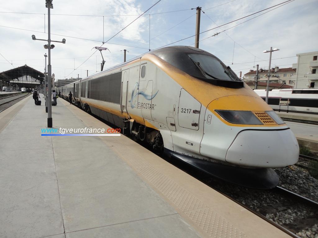 La rame Eurostar 3217 en gare de Marseille Saint-Charles le 15 septembre 2018