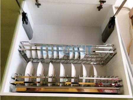 Giá bát inox nan 2 tầng có khay inox 304