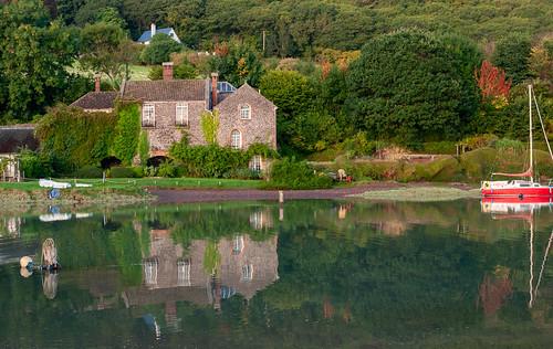 porlockweir somerset sunrise dawn house yacht reflections water calm still peaceful trees woods hill