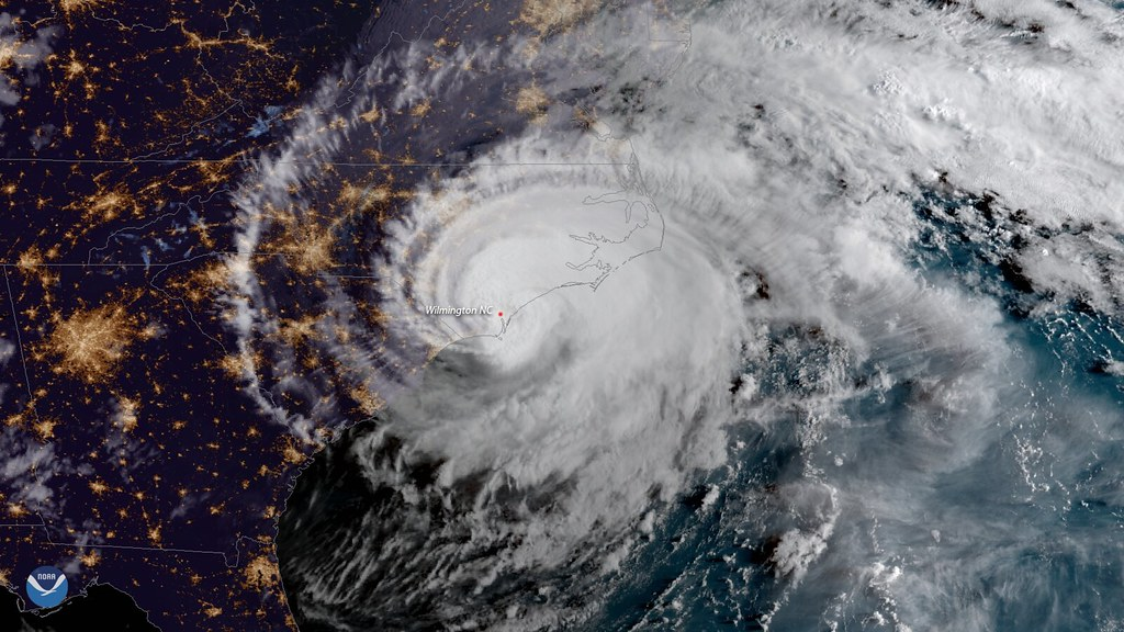 GOES East sees Hurricane Florence make landfall near Wrightsville Beach, North Carolina, at 7:15 a.m. ET on September 14, 2018.