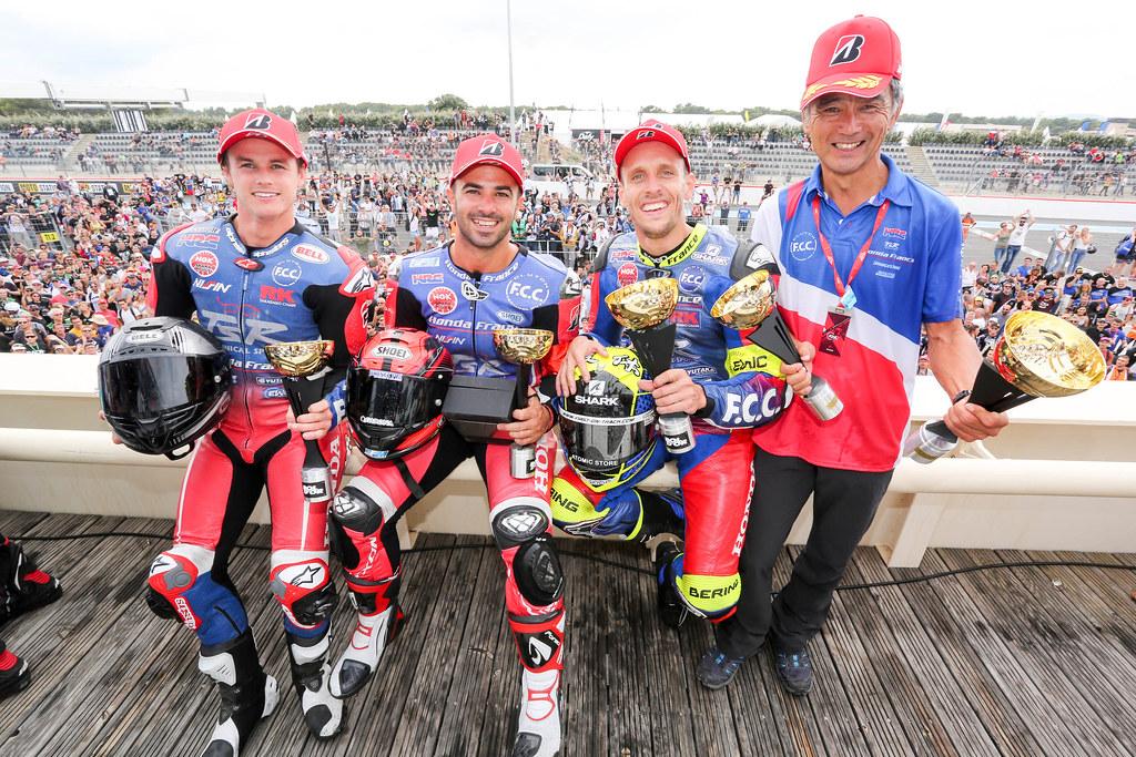 Bol,Dor,2018,Podium,F.C.C TSR HONDA FRANCE, FORAY Freddy, HOOK Josh, DI MEGLIO Mike, Honda CBR 1000 RR, EWC