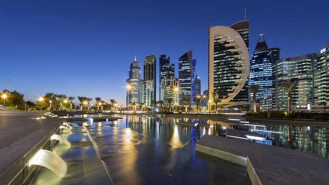 Cityscape in the evening in Doha, Qatar