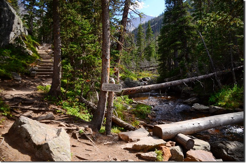 The junction of Black Lake Trail & Glacier Gorge campground