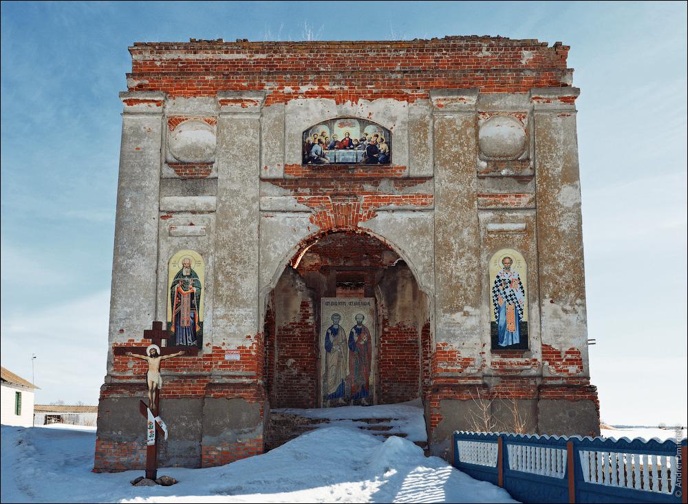 Ленино, Беларусь, руины церкви св. Николая