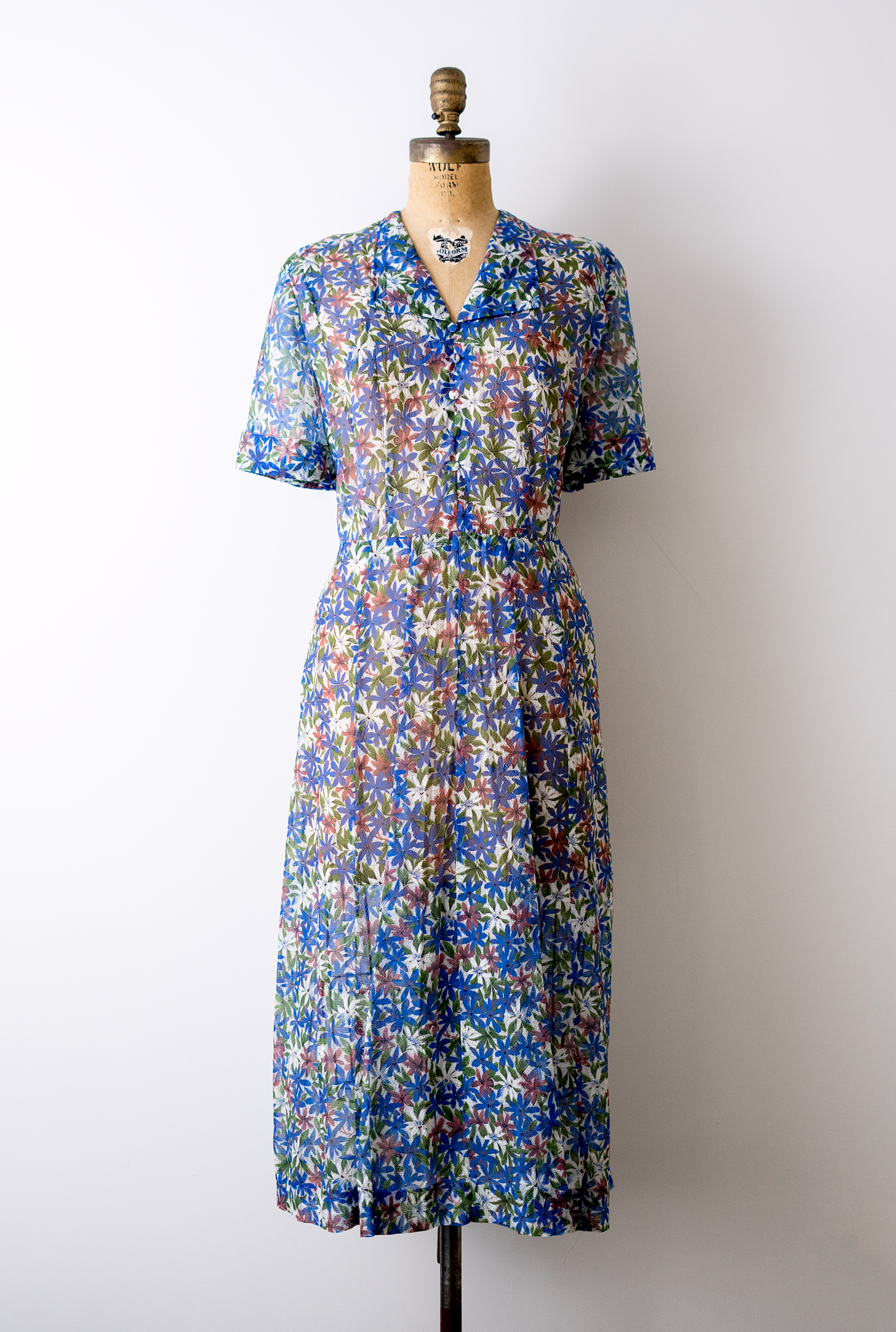 Vintage 1940's floral blue sheer dress by Heirloomen