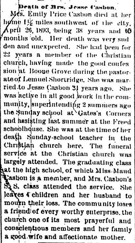 Price Emily obit PC Vidette 4May1893