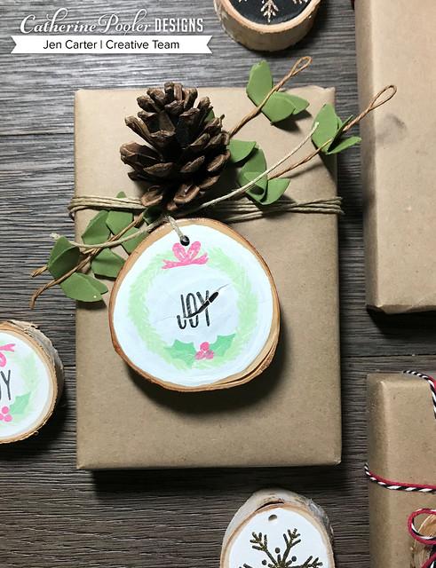 Jen Carter CP Wood Slice Ornaments Joy 18