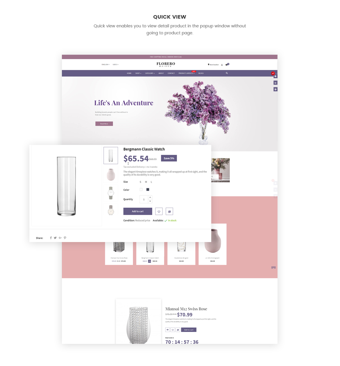 quick view product - vase website