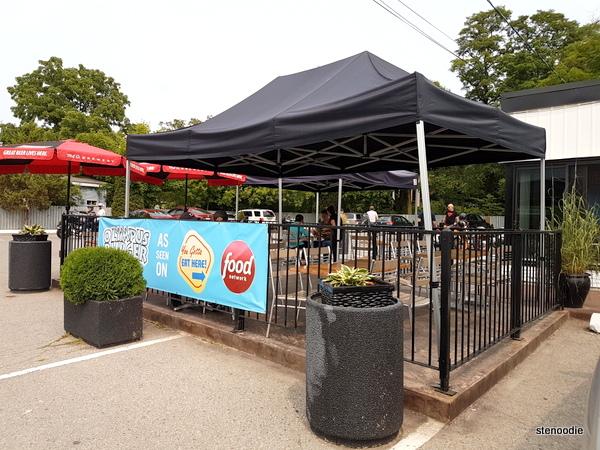 Olympus Burger outdoor patio