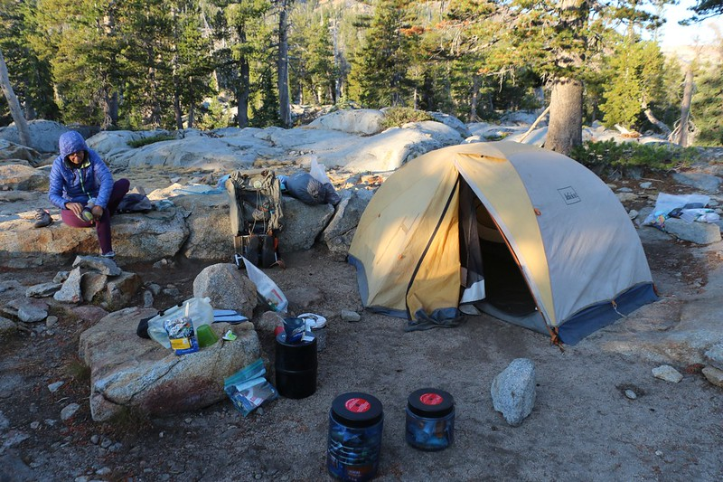 Our gear is spread out all over the place as we pack up our camp on Middle Velma Lake in the morning