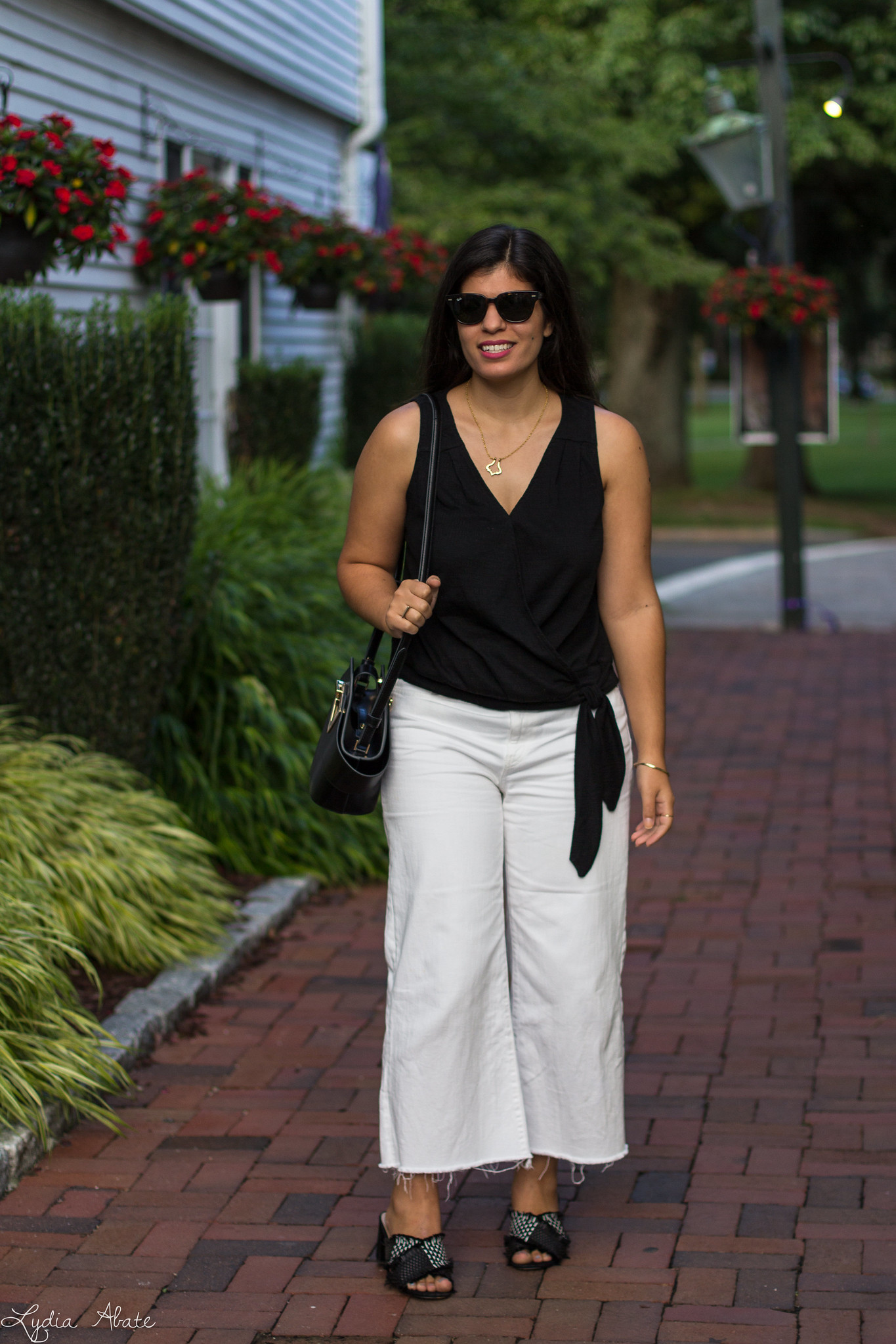 Black wrap top, white cropped jeans, Danse Lente Johnny Bag-5.jpg