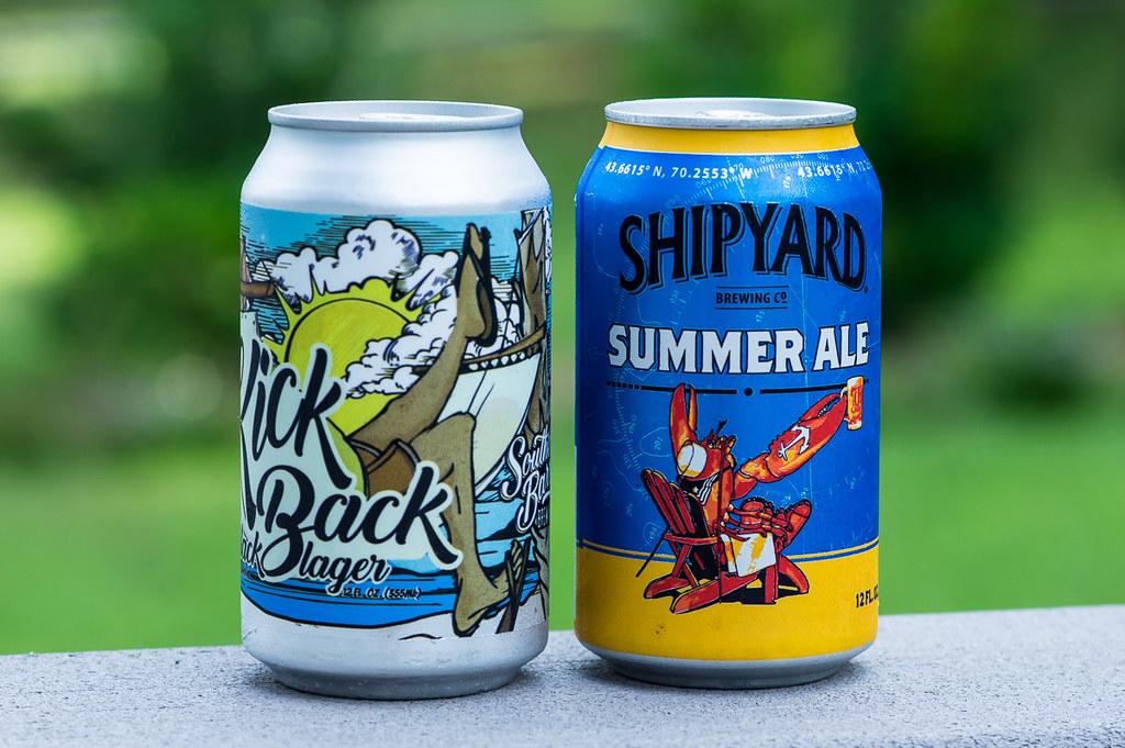 Kickback Black Lager and Shipyard Summer Ale