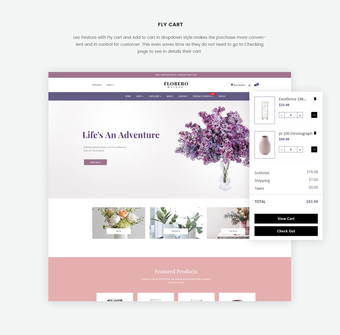 fly cart-ajax cart-Prestshop module feature-flower and vase free theme