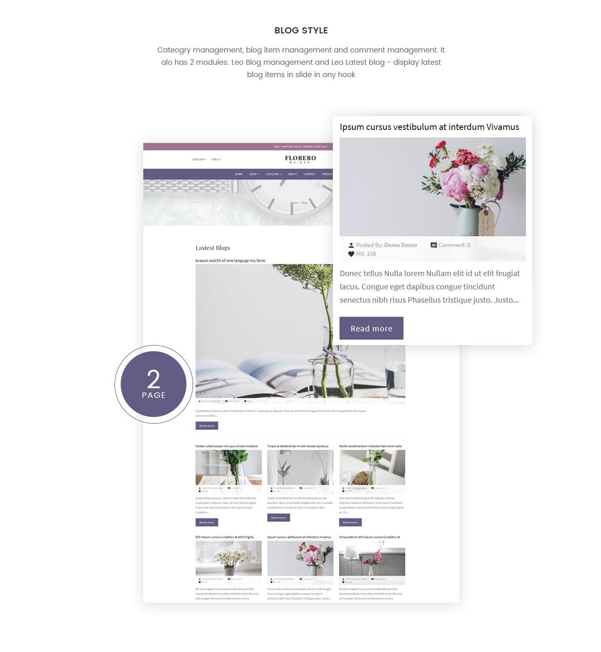 blog Prestashop module - vase and flower store - free theme