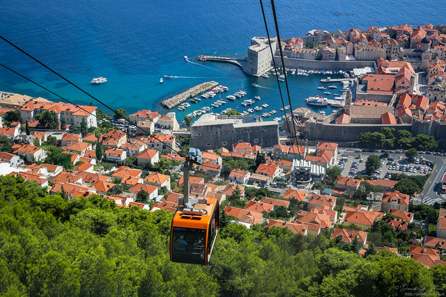 Taking the cable car in Dubrovnik