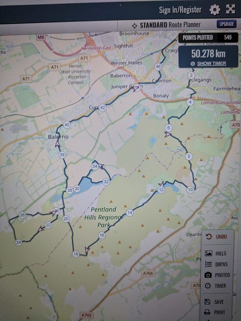 Planned 50k Pentlands Route