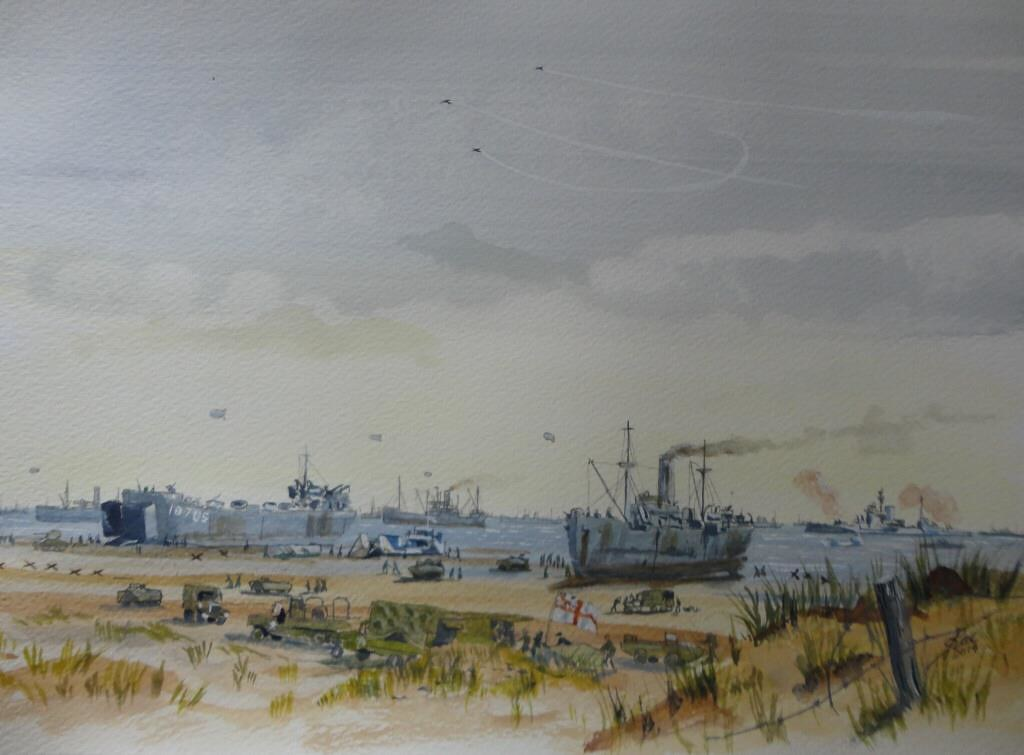 Small watercolour shortly after the D Day landings and before the Mulberries Made up from several contemporary photos The RN Beach Master's position