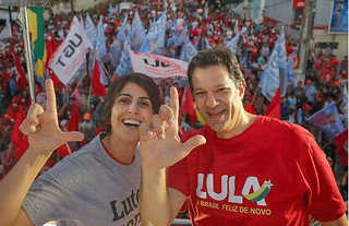 Ibope shows Workers' Party candidate Fernando Haddad (right) and his running mate Manuela D'Ávila had the best performance over last week - Créditos: Ricardo Stuckert