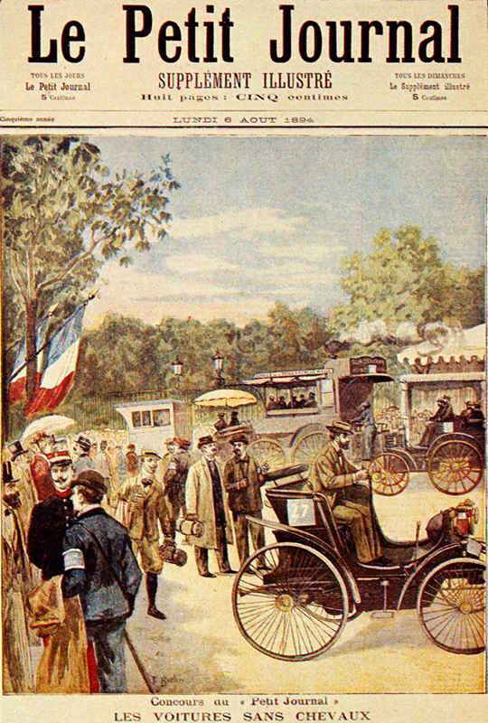 Painting of starting scene of the 1894 Paris Rouen Concours des Voitures sans Chevaux, on the front page of Le Petit Journal 5 August 1894. Car 27 is a Peugeot 3 hp driven by Louis Rigoulot.
