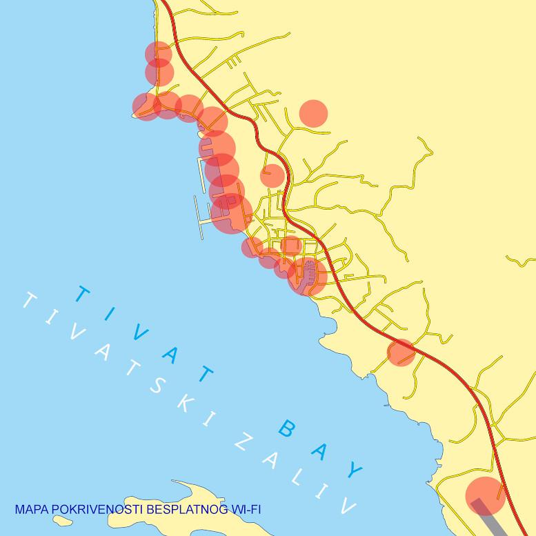 Карта бесплатного WiFi в Тиватском муниципалитете