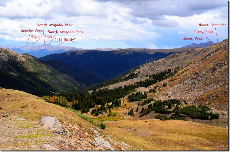 Looking northeast at Rocky Mountains & Indian Peaks from Vasquez Peak's west saddle (8)-1