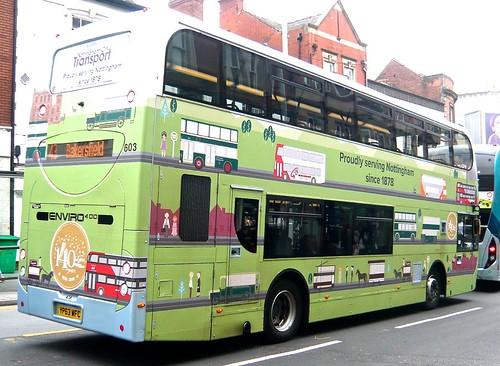 YP63 WFC 'Nottingham City Transport, No. 603 'Proudly serving Nottingham since 1878'. Scania N230UD / Alexander Dennis Ltd. Enviro 400 /4 on Dennis Basford's railsroadsrunways.blogspot.co.uk'