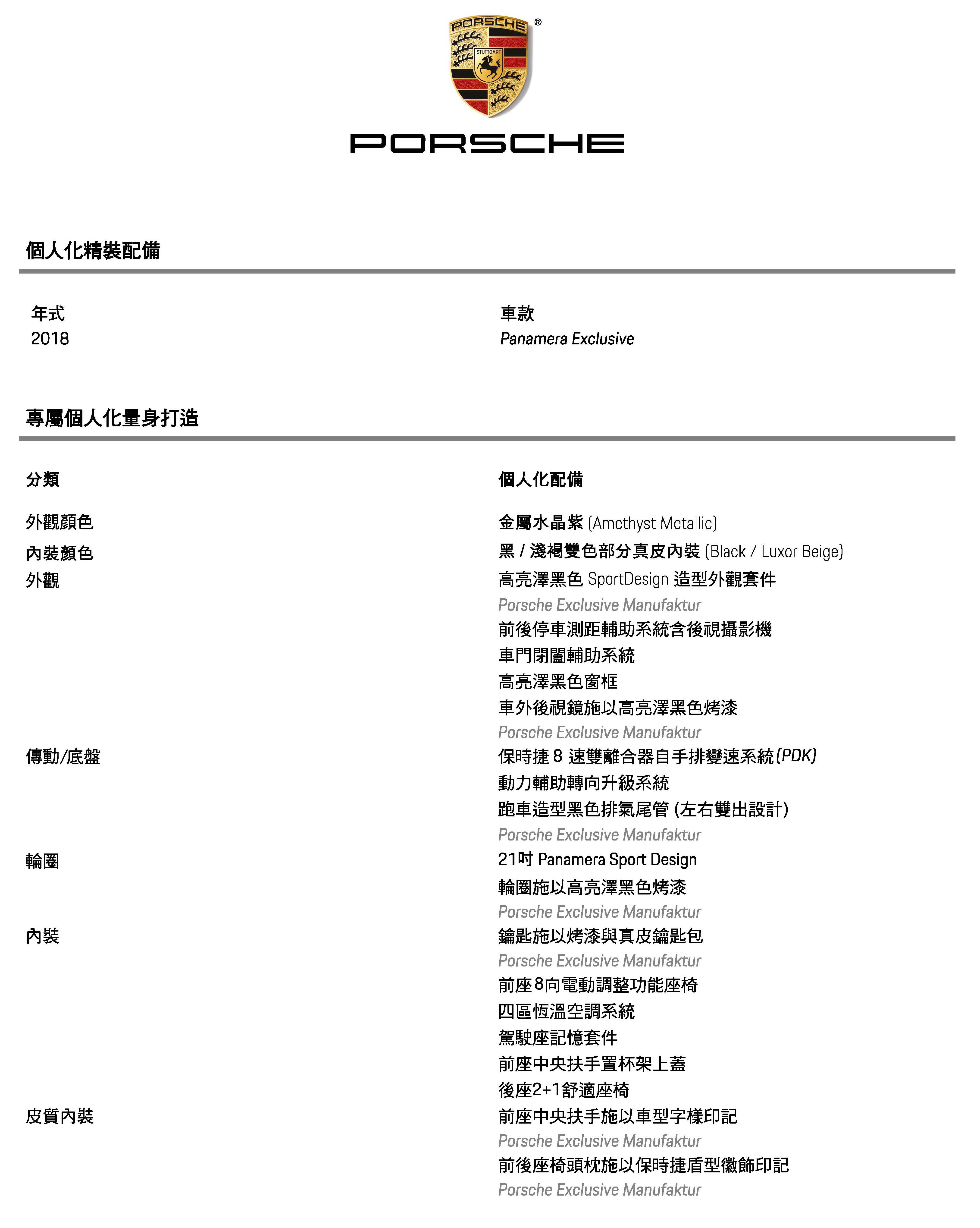Porsche Panamera Exclusive選用配備表_金屬水金紫