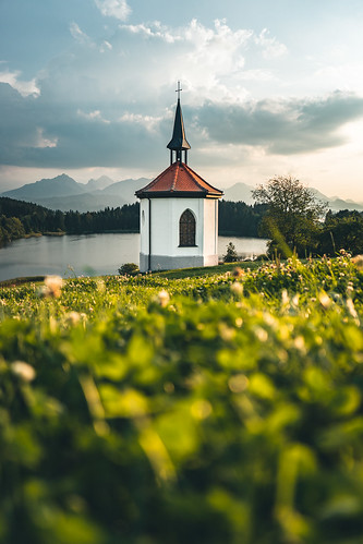 Sunset at a Chapel at lake Hegratsrieder See from Toni Hoffmann