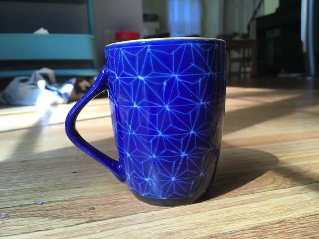 The mug that inspired my color choices for my Tensho cardigan.