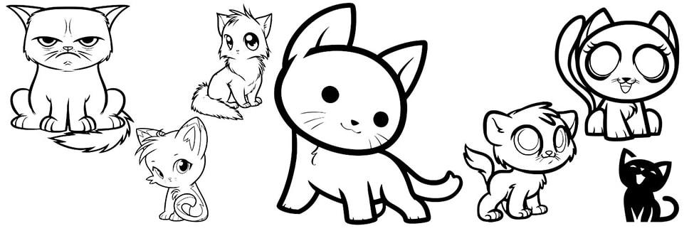 Dibujos de gatos fáciles
