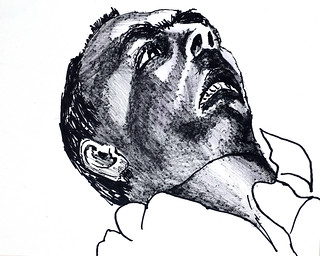 expressive male portrait man drawing ink on paper