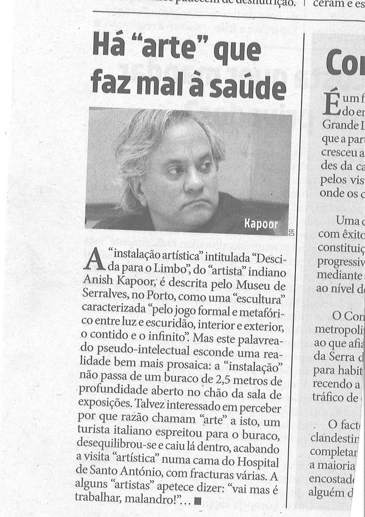 «Ha arte que faz mal à saúde», in «O Diabo», 21/VIII/18