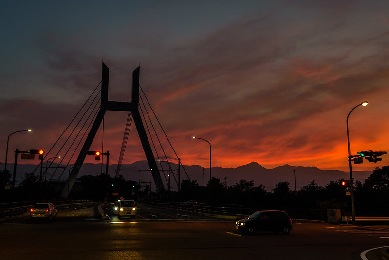 Sunset at Hirase-bashi Bridge Azumino,NAGANO