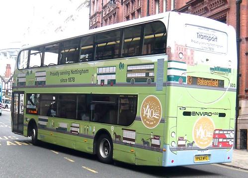 YP63 WFC 'Nottingham City Transport, No. 603 'Proudly serving Nottingham since 1878'. Scania N230UD / Alexander Dennis Ltd. Enviro 400 /2 on Dennis Basford's railsroadsrunways.blogspot.co.uk'