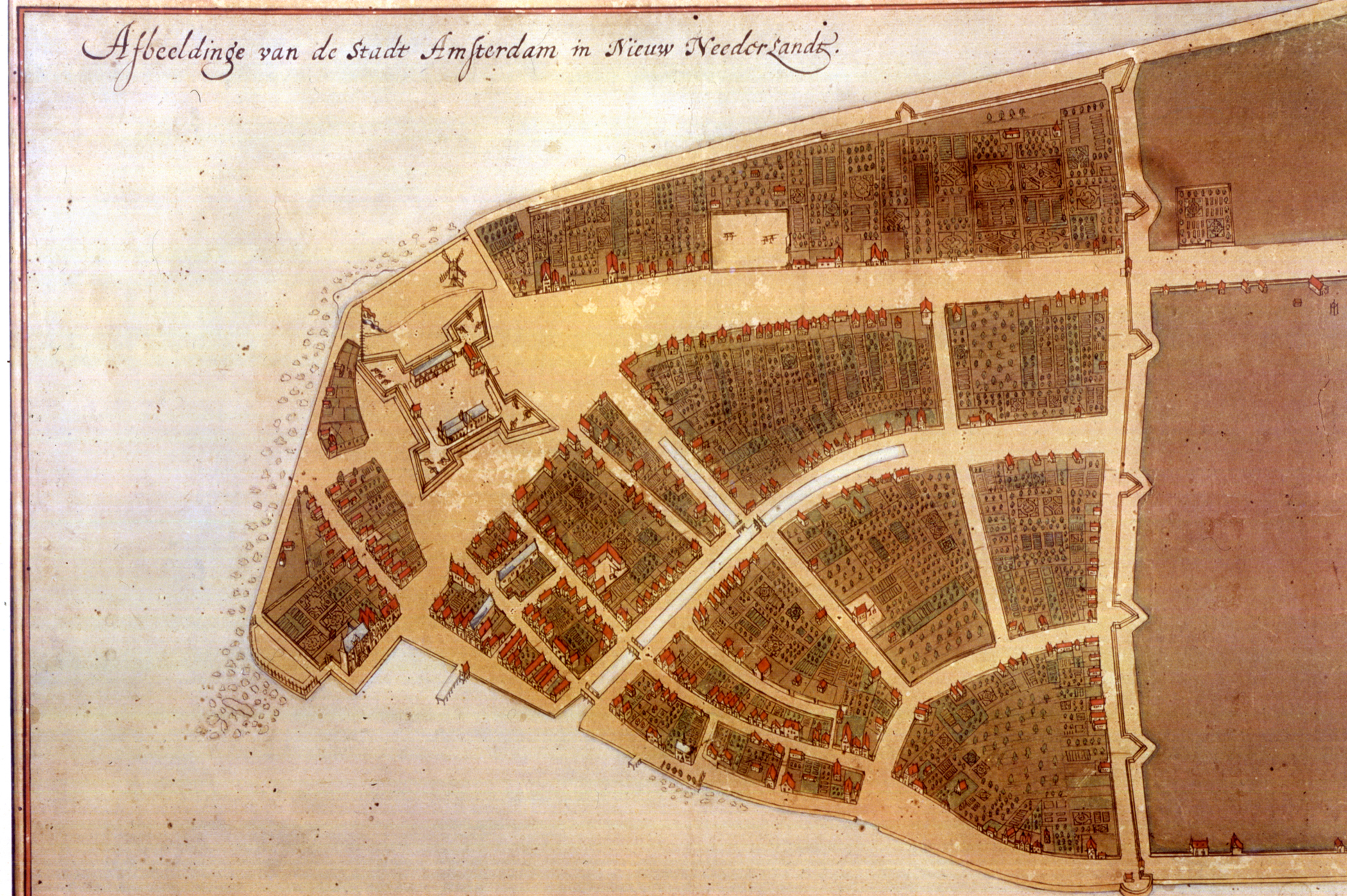 The original en:Castello Plan. Full size photograph of manuscript map in the Biblioteca Medicea-Laurenziana of Florence, Italy. The Castello plan is the earliest known plan of New Amsterdam, and the only one dating from the Dutch period. The text at the top of the image states: