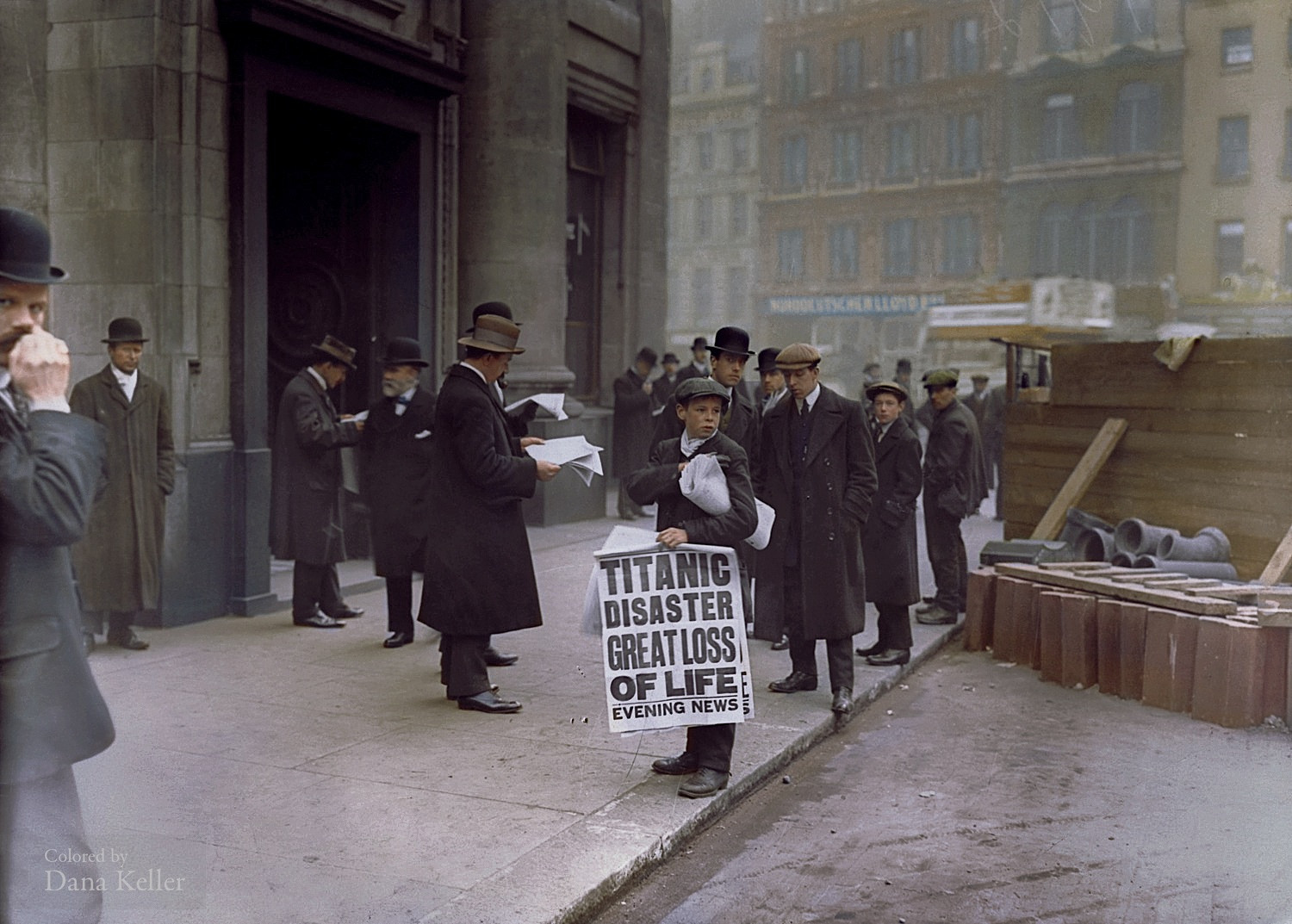 Sixteen-year-old newsboy Ned Parfett hawking newspapers outside of the London White Star Line offices on April 16, 1912.