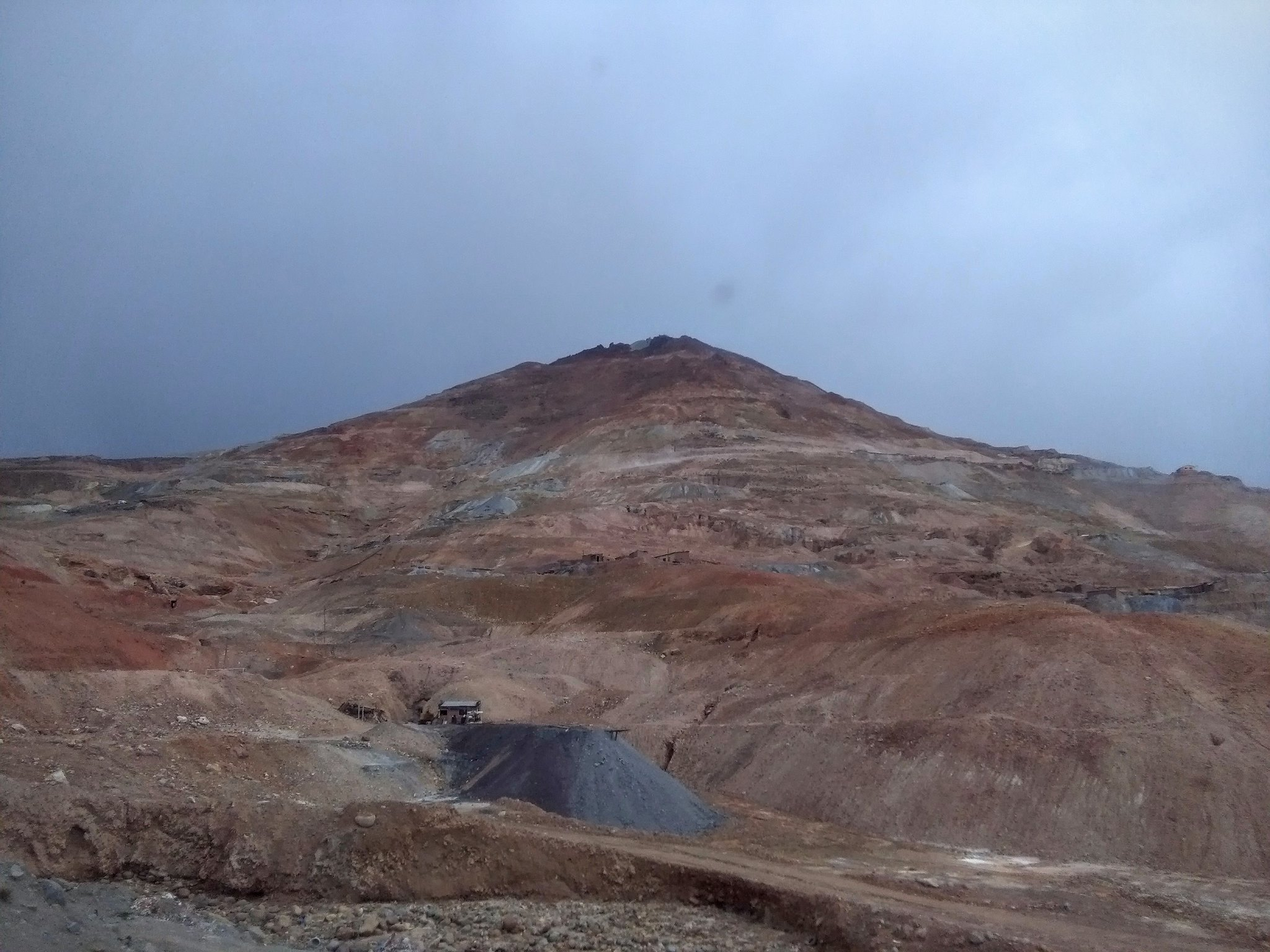 Cerro Rico against the gray sky