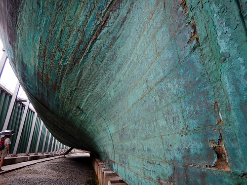 The verdigris copper cladding of the hull of the Frigate Jylland in Ebeltoft, Denmark