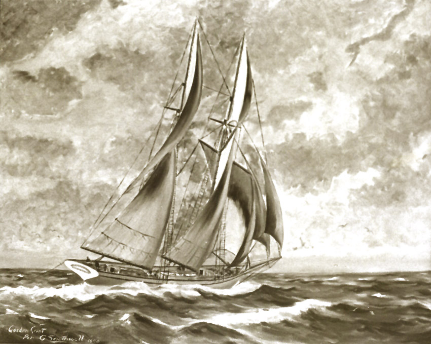 Artists rendition of the Pitcairn under sail in the Pacific Ocean.