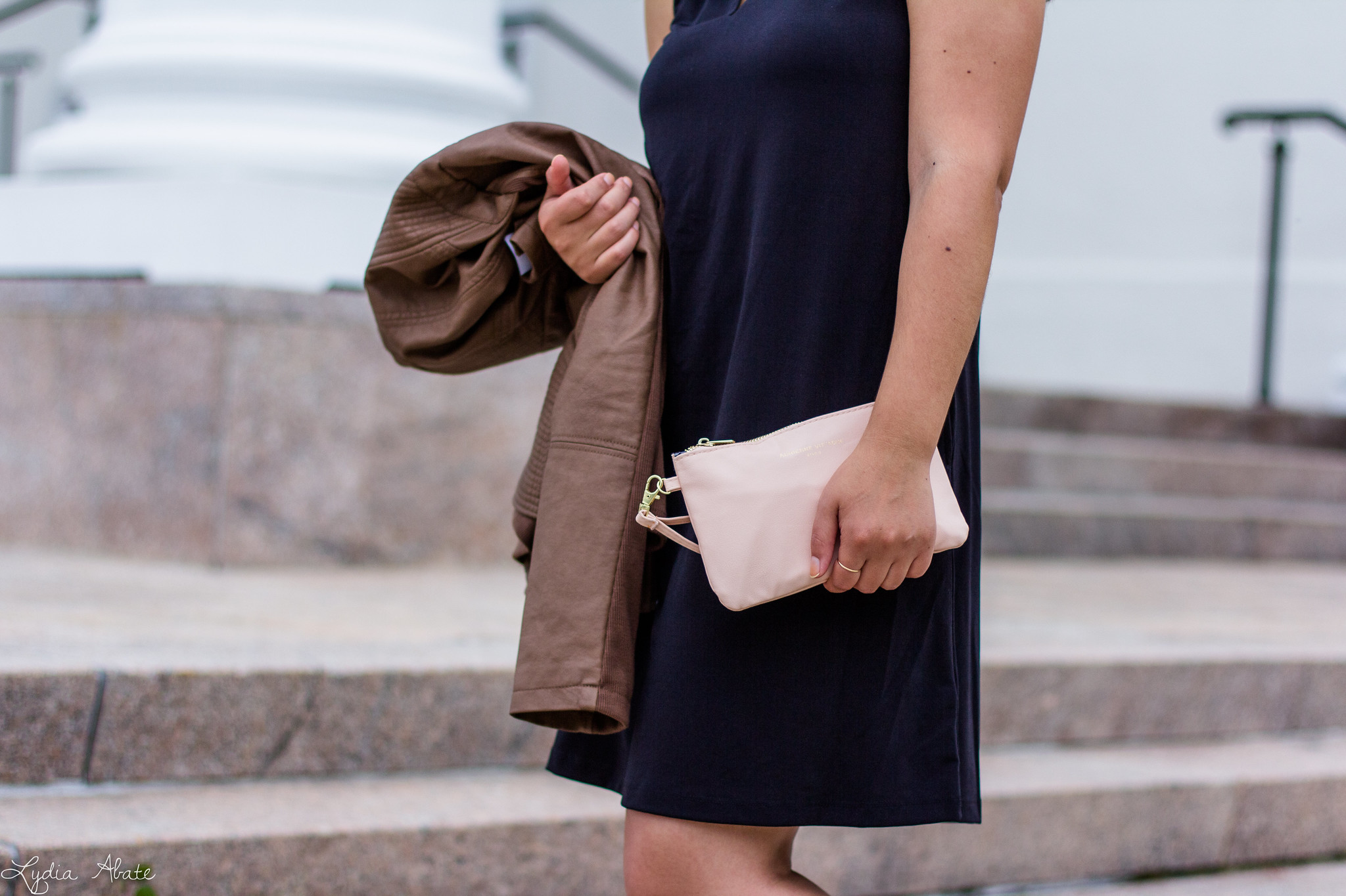 Fall Fashion From BJ's - black dress, leather jacket, charging wallet-8.jpg
