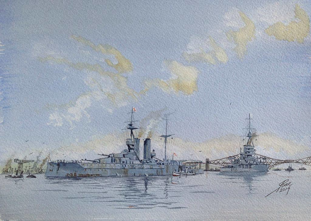 HMS QUEEN ELIZABETH off Rosyth WW1