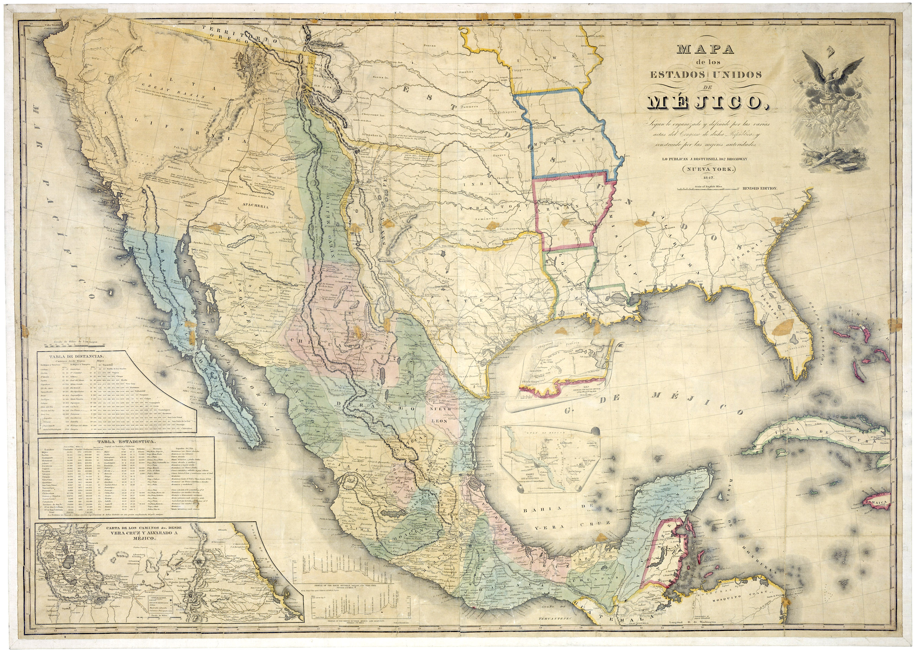 Map of the United States and Mexico, published in 1847