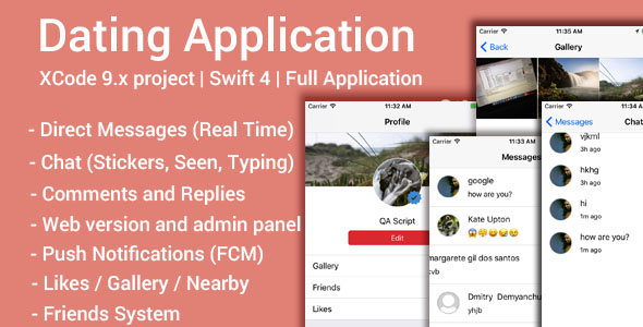 Dating App (iOS App and Website) v1.8 – Swift 4