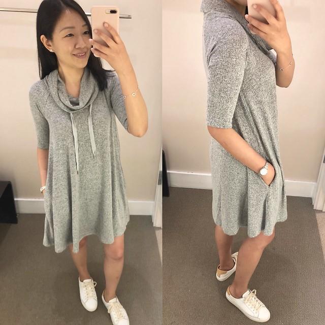 Lou & Grey Drawstring Cowl Dress, size XS regular