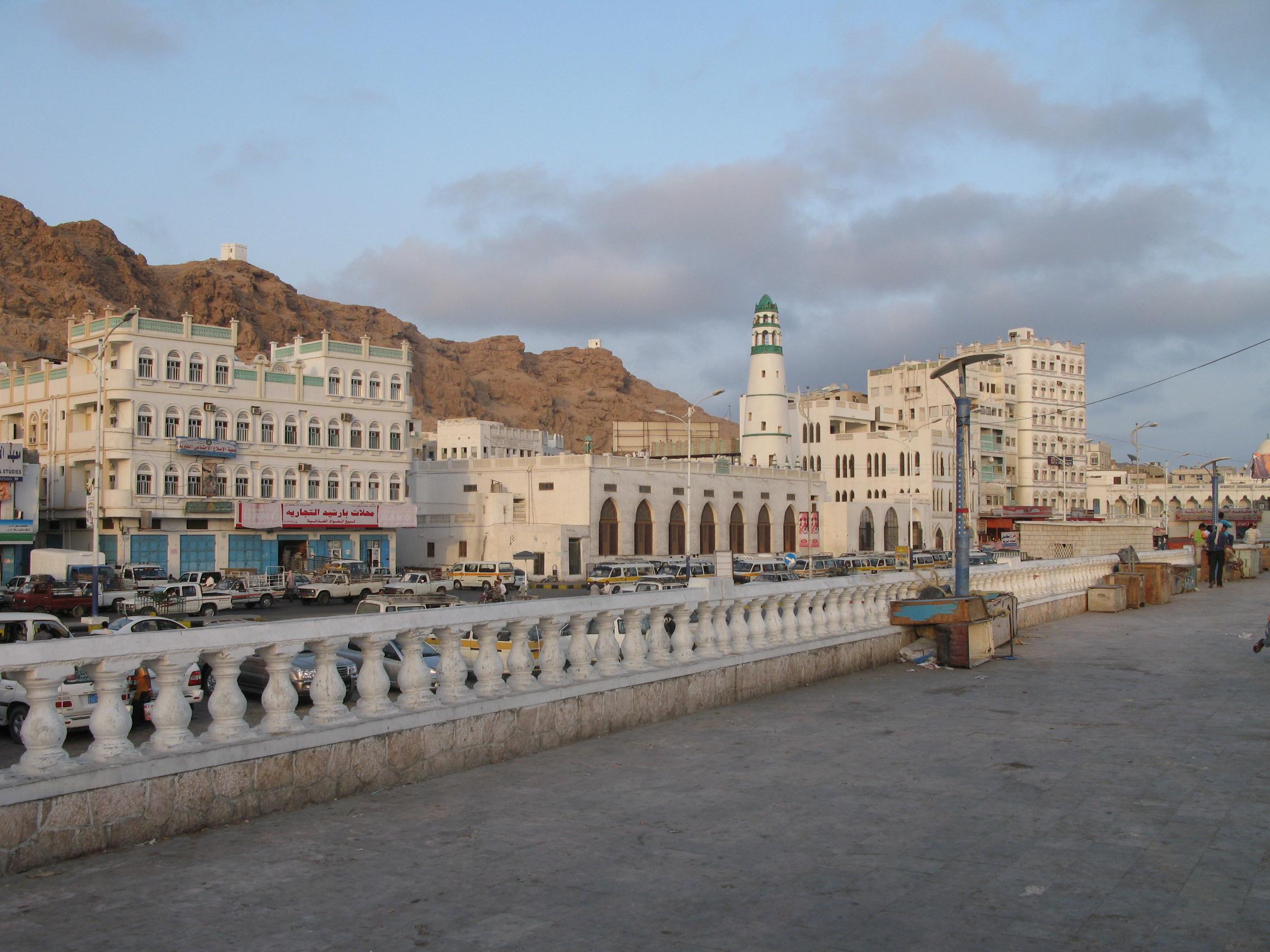 Al Mukalla, Yemen. Al Rawda Moaque Minaret in the center of the photo. Al-Ghwayzi Fort is visible in the upper left background. Photo taken by Ljuba Brank on April 30, 2008.