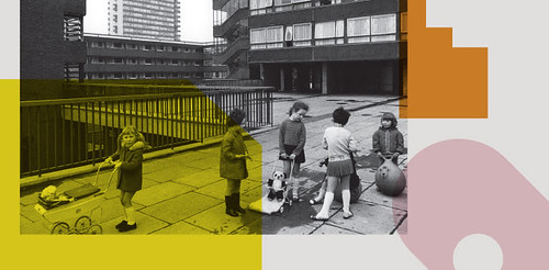 Tony Ray Jones, Pepys Estate, Deptford, London: children playing on a raised walkway, 1970. Credit Tony Ray-Jones/RIBA Collections